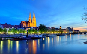 Обои Германия, дома, Регенсбург, огни, ночь, Бавария, Дунай, река