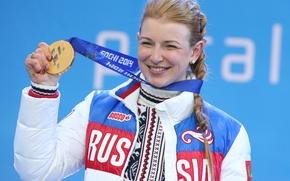 Картинка радость, улыбка, победа, медаль, коса, Russia, биатлон, РОССИЯ, Сочи 2014, Sochi 2014, BOSCO, Paralympic games, …