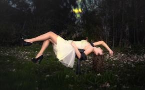 Картинка девушка, цветы, платье, левитация, Dream