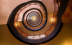 Обои lights, circle, stained glass, spiral, stairwell, stairs