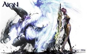 Картинка дракон, Девушка, меч, Aion, templar, NCSOFT