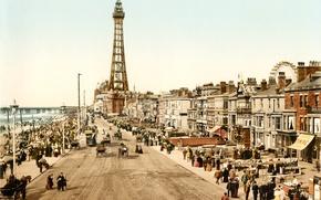 Картинка город, ретро, улица, Англия, старое фото, England, Lancashire, ca.1898, Blackpool
