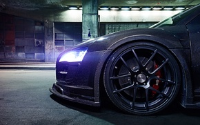Картинка Audi, Light, Glow, Night, Tuning, Brake, Carbon Fiber, Wheel