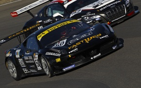 Картинка гонка, audi r8, трек, автомобили, автоспорт, ferrari 458