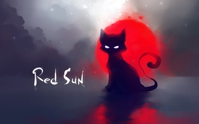 Обои солнце, deviantart, Apofiss, красное, кот