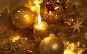 Картинка звезды, шарики, снежинки, праздник, шары, новый год, свеча, золотые, елочные украшения