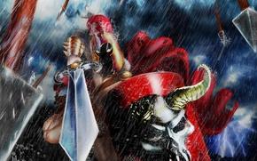 Обои дождь, череп, меч, доспехи, Воин, горящие глаза