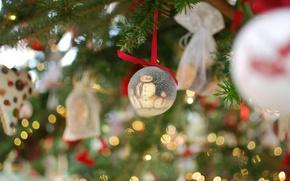 Обои огни, настроение, праздник, игрушки, елка, новый год, гирлянда