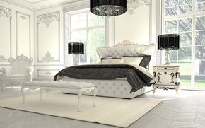 Картинка комната, кровать, интерьер, кресло, спальня
