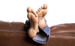 Обои feet, jeans, sofa