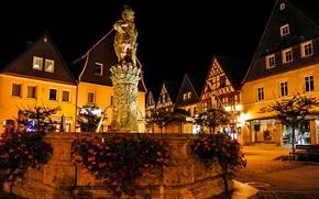 Обои огни, Германия, ночь, дома, фонтан, площадь