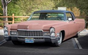 Картинка ретро, Cadillac, классика, передок, 1968