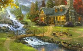 Обои лес, природа, туман, дом, река, лодка, рисунок, гитара, картина, арт, рисунки, картины, живопись, олени, мостик, ...