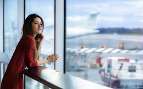 Обои девушка, аэропорт, Reunion
