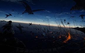 Картинка звезды, ночь, скалы, магия, человек, крылья, драконы, арт, битва, watari taichi