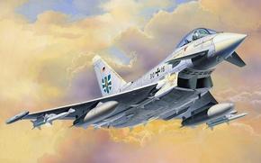 Картинка war, art, airplane, painting, aviation, jet, Eurofighter Typhoon