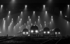 Картинка депо, поезда, чб