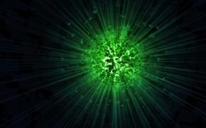 Обои лучи, зеленый, темно, шар, вспышка, арт