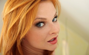 Обои tarra white, model, pornstar, redhead, blue eyes, lips