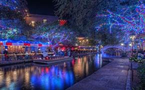 Картинка ночь, night, Texas, Holiday, Техас, San Antonio, Сан-Антонио, Christmas Lights