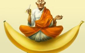 Обои асана, рисунок, настроение, бананы, йог