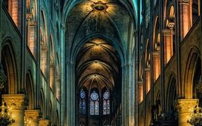Обои Нотр-Дам-де-Пари, собор, Франция, Париж, неф, религия