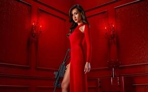 Обои автомат, боевик, Maggie Q, Мэгги Кью, стоит, Nikita, TV Series, макияж, красотка, криминал, Никита, оружие, ...