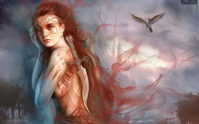Картинка девушка, кинжал, art, Anne Pogoda