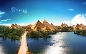 Обои Утопия, Канал, Пирамиды