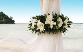 Картинка цветы, океан, берег, занавеска, свадьба, событие