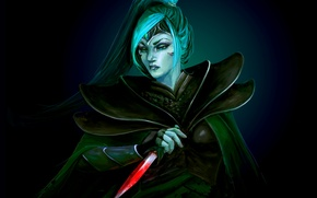 Картинка девушка, оружие, кровь, арт, красавица, хвост, кинжал, клинок, Dota 2, Phantom Assassin, Mortred, eksfo