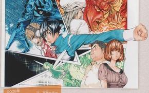 Картинка наушники, очки, рисунки, манга, друзья, кулак, bakuman, art, moritaka mashiro, takeshi obata, akito takasi, shinta …
