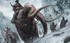 Картинка зима, снег, люди, арт, всадник, раскраска, поход, бивни, мамонты