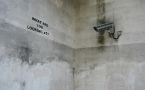 Обои Камера, Надпись, Бетон