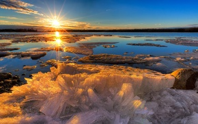 Картинка лед, зима, природа, озеро, рассвет