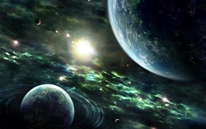 Обои Planets, Звезды, Space, Rings, Stars, Nebulae, Sun, Земля, Earth, Планеты