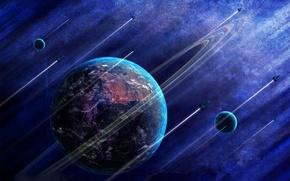 Картинка след, планета, спутник, ракета, траэктрория