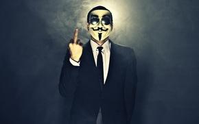 Картинка дым, маска, очки, мужчина, жест, anonymous, косюм