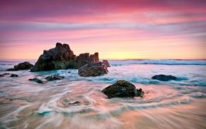 Картинка море, камни, берег, утро