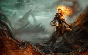 Картинка девушка, пламя, доспехи, волшебница, Magic: The Gathering, Chandra