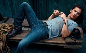 Картинка джинсы, футболка, актер, мужчина, Matthew McConaughey, Мэттью МакКонахи