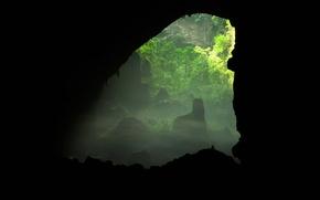 Картинка деревья, человек, силуэт, пещера, Вьетнам