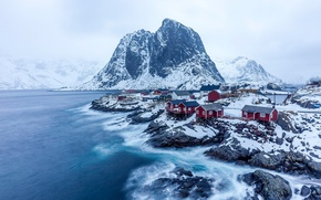 Обои скалы, Норвегия, горы, север, снег, зима, деревня