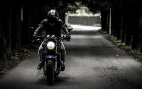 Картинка дорога, мотоцикл, шлем, байкер, bike, biker
