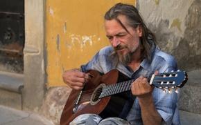 Картинка улица, человек, гитара