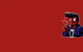 Обои минимализм, паутина, прическа, сигарета, красный фон, элвис пресли, человек паук, spider man