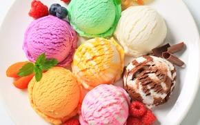 Картинка мороженое, шарики, ассорти, десерт, тарелка, черника, ягоды, малина, разное, шоколад