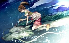 Обои хаяо миядзаки, девочка, дракон, Унесённые призраками