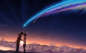 Обои закат, облака, звезды, miyamizu mitsuha, tachibana taki, masabodo, ночь, девушка, аниме, школьники, парень, арт, небо, ...