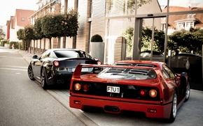 Картинка деревья, красный, черный, здание, Ferrari, red, феррари, black, 599, tree, gto, back, building, f40, ф40, ...